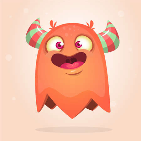 Happy cartoon orange monster. Halloween vector illustration of excited monster