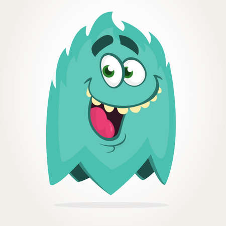 Cool funny cartoon monster. Vector Halloween blue monster. Design for stickers, party decoration or children book