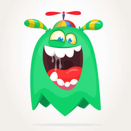 Screaming cartoon monster face. Halloween character design for print