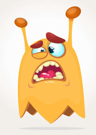 Scary surprised cartoon monster. Vector Halloween orange monster. Big set of cartoon monsters
