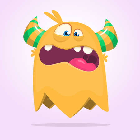 Angry cartoon monster design. Halloween vector illustration of flying monster character. Design for children book, stickers, party decoration