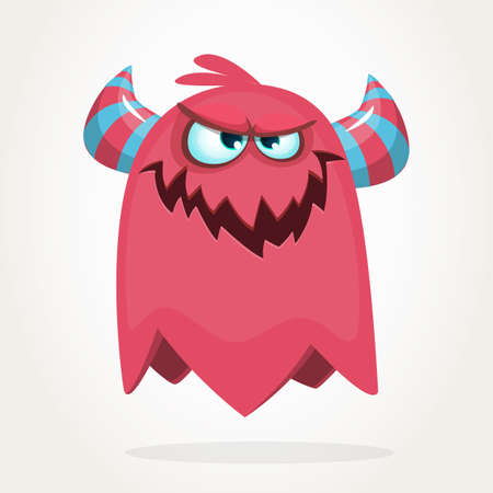 Evil cool cartoon fat flying monster. Purple and horned vector monster character Ilustrace