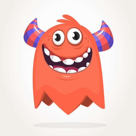Happy cartoon orange monster. Halloween vector illustration of excited monster. Big set of cartoon monsters