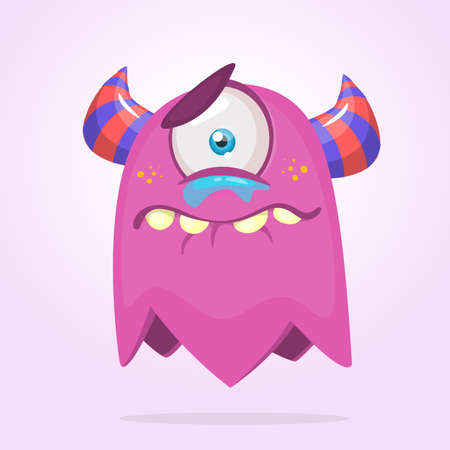 Cute cartoon monster with horns and one eye. Crying monster emotion. Halloween vector illustration