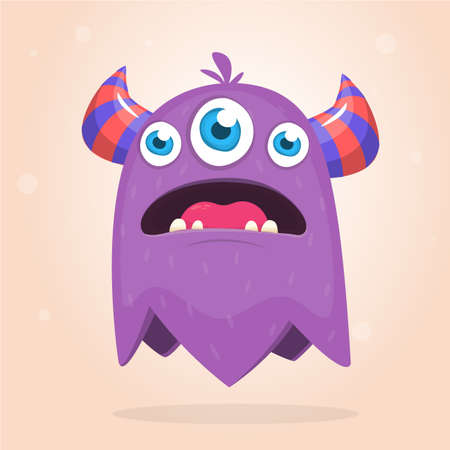 Angry purple cartoon monster with horns an three eyes. Big collection of cute monsters. Halloween character. Vector illustrations. Good for book illustration, magazine prints or journal article Ilustrace