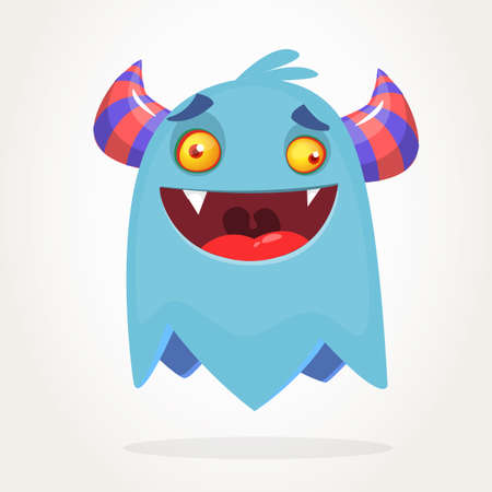 Angry blue cartoon monster with horns. Big collection of cute monsters. Halloween character. Vector illustrations. Good for book illustration, magazine prints or journal article