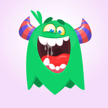 Angry cartoon green monster screaming. Yelling angry monster expression. Halloween vector illustration