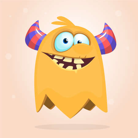 Angry cartoon monster. Halloween vector illustration of flying monster character