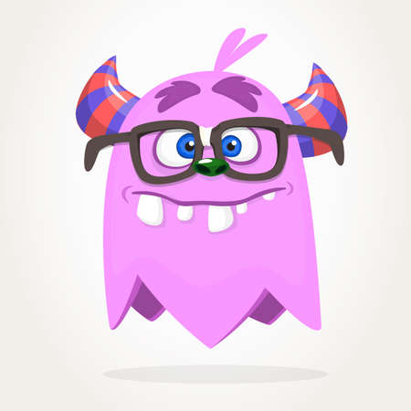 Silly cool cartoon monster wearing eyeglasses. Vector Halloween character Ilustrace