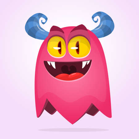 Angry pink cartoon monster. Halloween vector monster character design with smiling expression