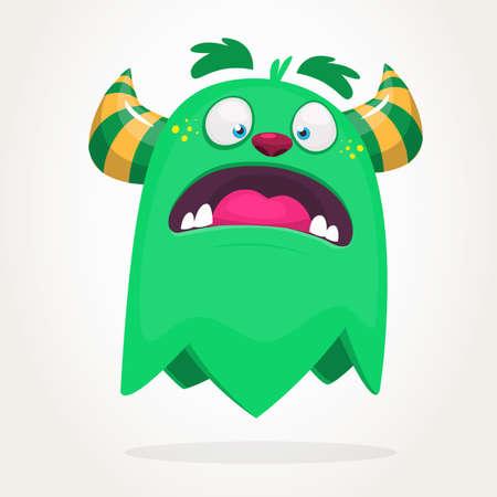Cartoon green monster. Monster illustration with surprised expression. Shocking green gremlin mascot design. Vector Halloween illustration