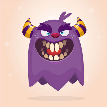 Angry cartoon monster. Halloween vector blue and horned monster  Ilustrace