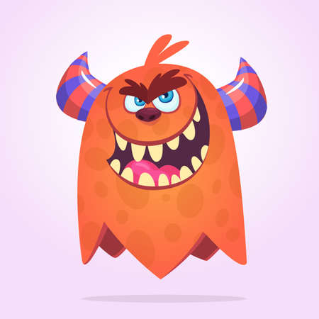 Scary cartoon monster with big mouth full of teeth. Halloween vector illustration of monster mascot