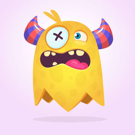 Angry cartoon monster design. Halloween vector illustration of flying monster character. Big set of cartoon monsters. Ilustrace
