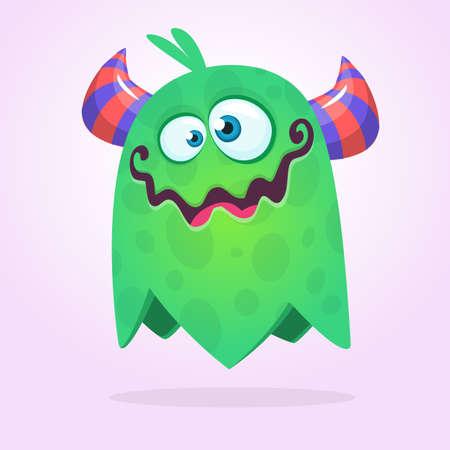 Green cute cartoon monster. Green vector alien character. Halloween design Ilustrace