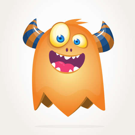 Cool cartoon monster with big eyes. Halloween vector illustration clipart