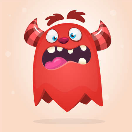 Scary surprised cartoon monster. Vector Halloween red monster. Big set of cartoon monsters Иллюстрация