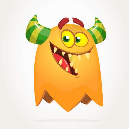 Funny cartoon monster. Vector Halloween orange monster. Big set of cartoon monsters