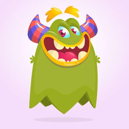 Funny cartoon monster. Vector Halloween green monster  Ilustrace