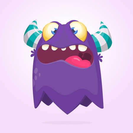 Cartoon cool monster. Monster ghost illustration with surprised expression.  Vector Halloween illustration 일러스트