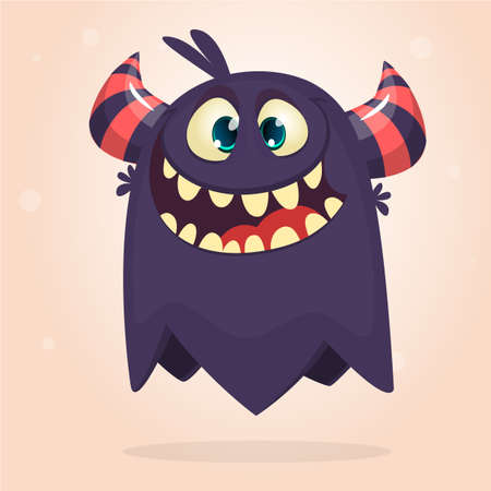 Angry cartoon monster. Halloween vector black and horned monster  Иллюстрация
