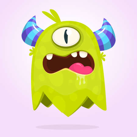 Funny cartoon monster with horns with one eye. Angry monster emotion with big mouth. Halloween vector illustration