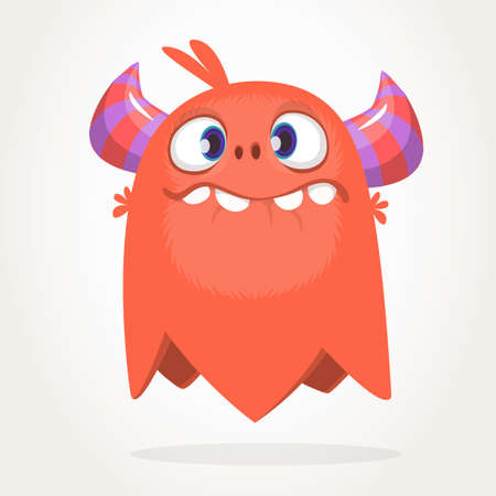 Cartoon red monster character. Vector illustration Иллюстрация