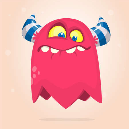 Grumpy cartoon monster. Vector Halloween illustration of funny monster clipart