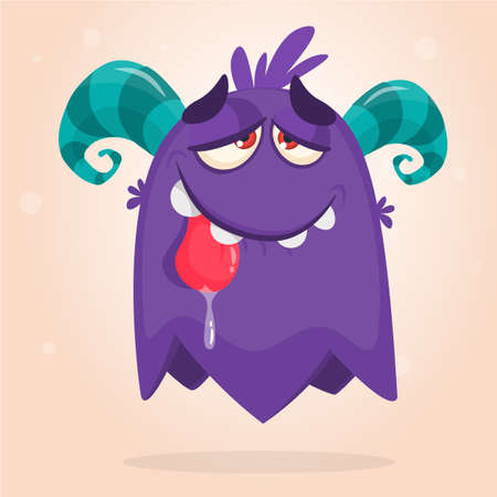 Cute blue horned cartoon monster. Funny flying monster showing tongue. Halloween vector illustration