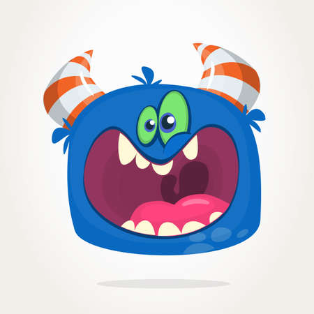 Angry cartoon blue monster screaming. Yelling angry monster expression. Halloween vector illustration 向量圖像