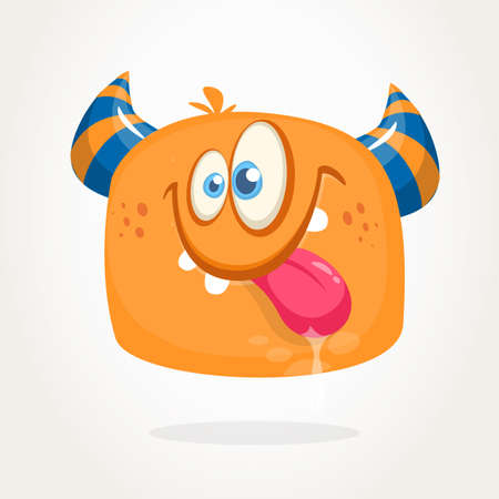 Happy orange cartoon horned monster. Tired monster emotion showing his tongue. Halloween vector illustration 向量圖像