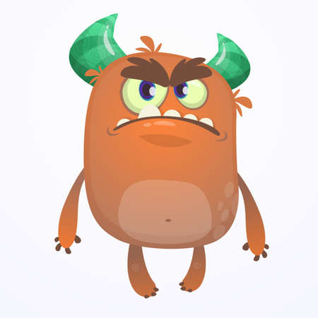Cartoon grumpy angry monster. Vector illustration