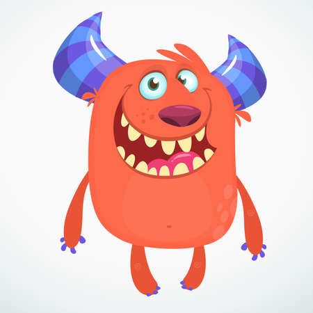 Happy cool cartoon fat monster.Red and horned vector monster character