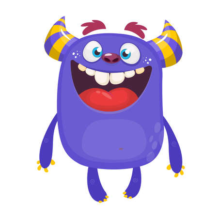 Cool funny cartoon monster. Vector Halloween green monster. Design for stickers, party decoration or children book