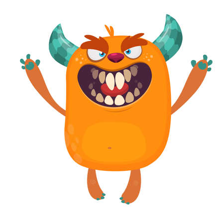 Angry orange cartoon monster with horns. Big collection of cute monsters. Halloween character. Vector illustrations. Good for book illustration, magazine prints or journal article Иллюстрация