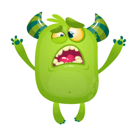Cartoon green monster. Monster troll illustration with surprised expression. Shocking green gremlin mascot design. Vector Halloween illustration Иллюстрация