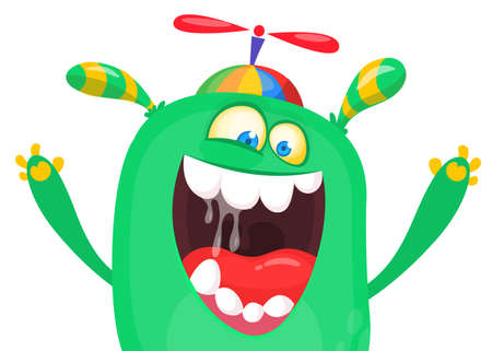 Screaming cartoon monster face. Halloween character design for print