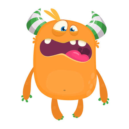 Angry cartoon monster design. Halloween vector illustration of monster character. Design for children book, stickers, party decoration Иллюстрация