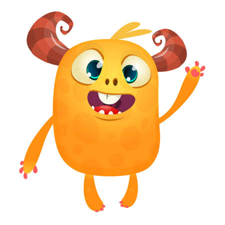 Funny cartoon orange monster. Halloween vector illustration of excited monster. Big set of cartoon monsters