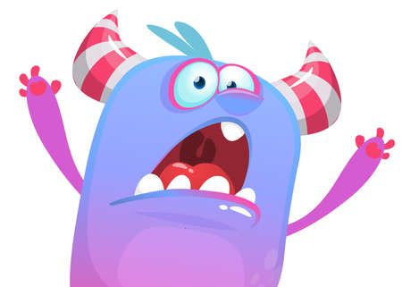 Angry cartoon monster  icon trying to scare. Vector Halloween illustration Иллюстрация
