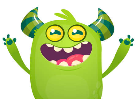 Cartoon green monster screaming. Design for banner, poster or print