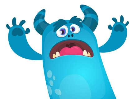 Personaje de monstruo de vector de dibujos animados enojado