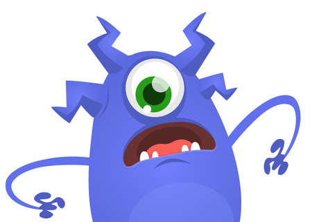 Angry cartoon monster with one eye. Vector illustration for Halloween
