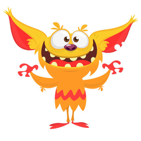 Happy cartoon orange monster. Halloween vector illustration of excited troll or gremlin character