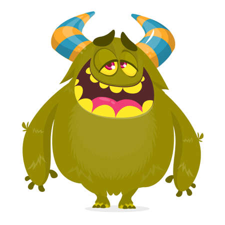Happy pleased cartoon monster. Satisfied  monster emotion. Halloween vector illustration