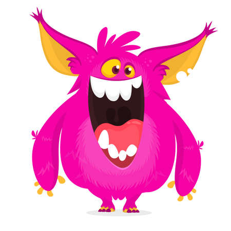 Cute pink and horned cartoon monster. Funny flying monster with smiling expression and long tongue. Halloween vector illustration