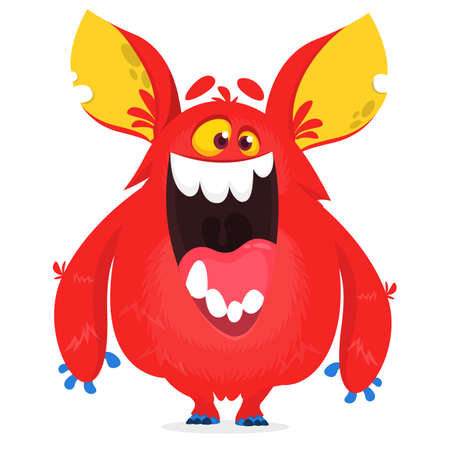 Cartoon red monster character with big ears. Monster troll illustration with surprised expression. Shocking pink gremlin mascot design. Vector Halloween illustration