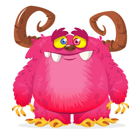 Cartoon pink monster. Monster troll illustration with surprised expression. Vector Halloween illustration