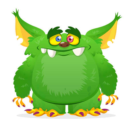 Cartoon green horned monster. Vector illustration isolated Ilustrace