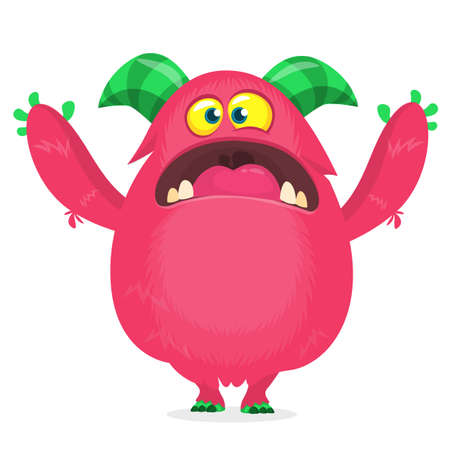 Vector cartoon pink fat and fluffy Halloween monster. Funny troll or gremlin character